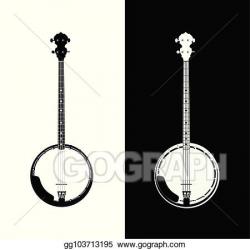 Vector Stock - Banjo in black and white. Clipart ...