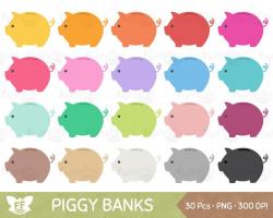 Piggy Bank Clipart, Piggybank Clip Art, Money Saving Coin Cash Bill ...