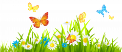 Grass Ground with Flowers and Butterflies PNG Clipart | scraping ...
