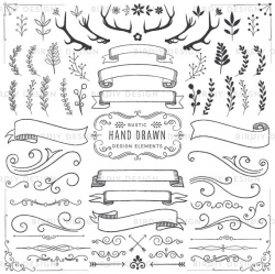 Woodland Clipart - Floral Clipart - Antlers, Banners, Flourishes ...