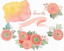 Peach Flowers clipart, wedding clipart, boho, flower posy ...