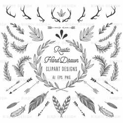 Rustic Woodland Clipart Bundle - Antlers, Banners, Flourishes ...