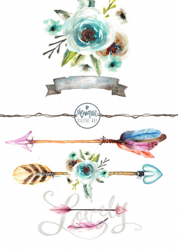 clipart watercolor arrows,feathers, boho, tribal, flowers, banner ...