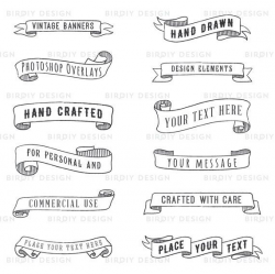 Banner Clipart - Rustic Clipart - Wedding Clipart - Photoshop ...