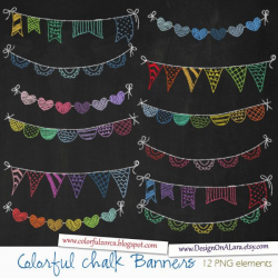 Colorful Chalk Bunting Banners, Rainbow Chalk Banners Clip Art ...