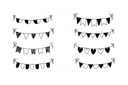 Doodle bunting clip art, Hand drawn bunting banner clipart, Birthday ...