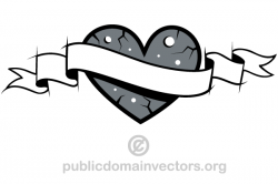 Love Heart with Banner Clip Art | Clip art and Banners