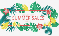 Tropical Leaves Discount Banners, Vector Png, Promotion, Promotional ...
