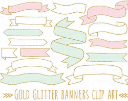 Hand Drawn Banners Clip Art. Doodle Ribbon Banners. Black