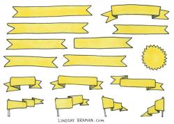 Cheat Sheet of Hand Drawn Banner Doodles - LindsayBraman.com