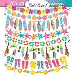 Hawaiian bunting banner Borders Clip art Digital ribbons