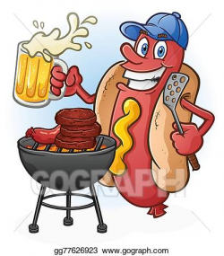 Vector Stock - Hot dog cartoon tailgating and beer. Clipart ...