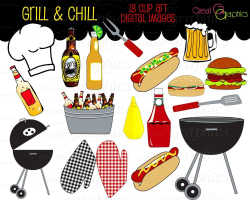 Party Clipart Backyard BBQ Clip Art Cooking Clipart Printable BBQ ...