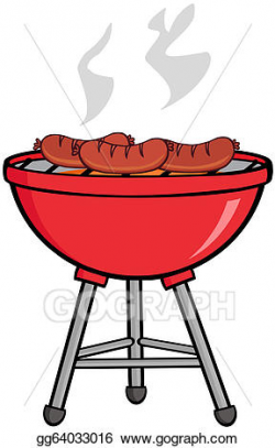 Vector Stock - Grilled sausages on barbecue. Clipart ...