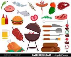 BBQ Clipart Cookout Clipart Barbeque Clipart Party Food