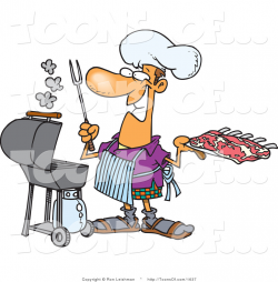 Cartoon of a Man Preparing to Barbeque Fresh Ribs on a Gas Grill by ...