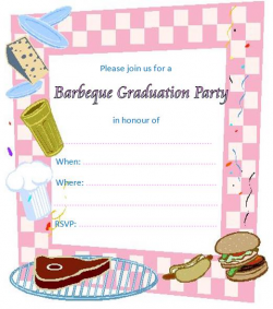 Barbeque Printable Graduation Invitations