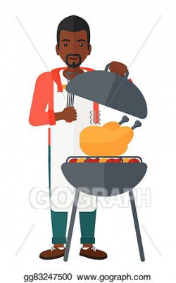 Vector Clipart - Man preparing barbecue. Vector Illustration ...