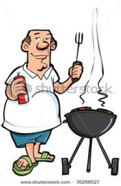 Cartoon of Overweight Man Cooking on a BBQ - Clipart