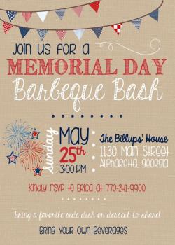 Memorial Day BBQ Invitation - Summer Barbeque Invitation - Printable ...