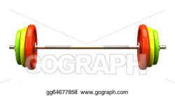 Drawing - Multicolored barbell isolated on white background. Clipart ...