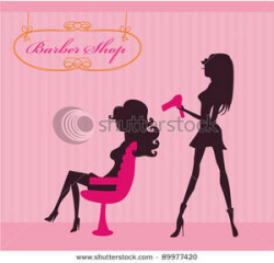 Clip Art Image: Silhouettes of Women In a Barber Shop