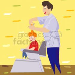Royalty-Free Barber cutting a sad boy's hair 157969 vector clip art ...