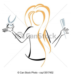 Lady Barber Logo Clipart
