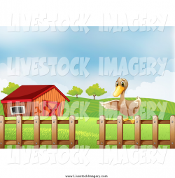 Clip Art of a Pointing Duck on a Fence near a Barn by Graphics RF ...