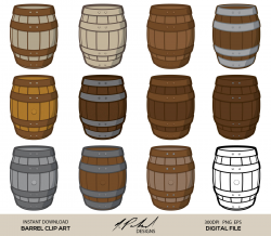 Barrel Digital Clip Art - DIGITAL FILE - Barrel Clipart - Barrel Clip Art -  Wood Barrel Clipart - PNG Barrel - png - Wood Barrel eps File