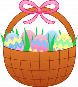 Easter Basket With Colorful Eggs - Free Clip Art