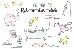 Watercolor Clip Art - Bath Time ~ Illustrations ~ Creative Market