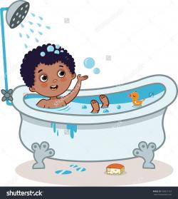 Kids Bath Time Clipart - Letters