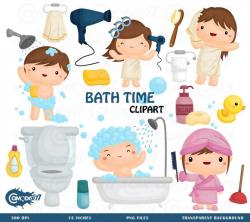 Bath Time Bath - Clipart Commercial Use Vector Graphic Digital Clip ...