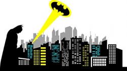 ChicWalls Removable Gotham City Skyline Batman Silhouette Logo Ray of Light  Wall Art Decor Decal Vinyl Sticker Mural Kids Room Nursery 80