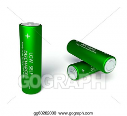 Stock Illustration - 3d green rechargeable aa batteries. Clipart ...