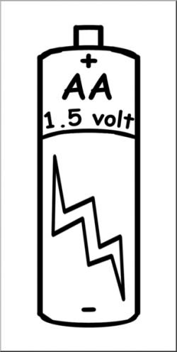 Clip Art: Electricity: AA Battery B&W I abcteach.com | abcteach
