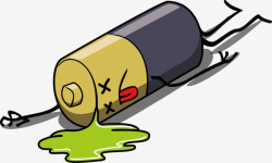 Vector Painted A Dead Battery, Vector, Leakage, Cartoon PNG and ...