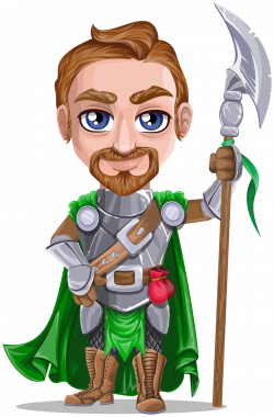 Clipart - Knight warrior in armor, holding battle-axe