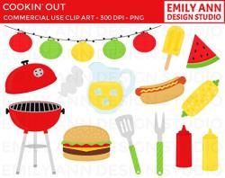 BBQ Cook Out Summer Grill Hot Dog Hamburger Cute Clip Art - red ...