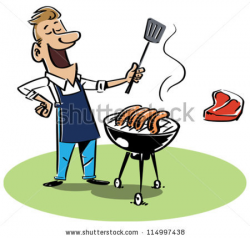 Barbecue clipart man - Pencil and in color barbecue clipart man