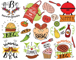 Summer BBQ Clipart, vector, barbecue clipart, summer doodle, picnic  clipart, summer clipart, bullet journal stickers, planner stickers