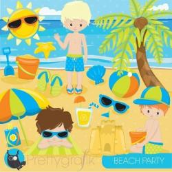 beach party clipart - Prettygrafik Store