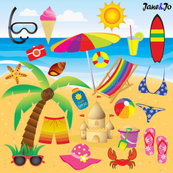 50% OFF SALE 22 Beach Clipart + FREE 12 Digital Papers , Summer ...