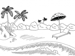 beach clipart black and white 2 | Clipart Station