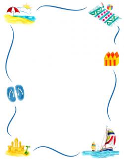 Border clip art featuring beach graphics such as sandcastles, beach ...