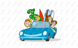 Beach Family Driving Character Clip Art - Royalty Free Clipart ...