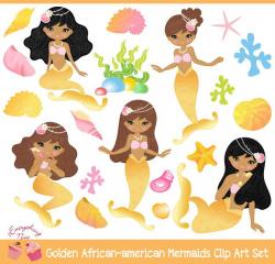 African-american Golden Mermaids Clipart Set | Mermaid clipart ...