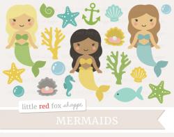 Mermaid Clipart, Ocean Clip Art, Princess Clipart, Beach Clipart ...