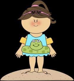 Girl On Beach Clipart
